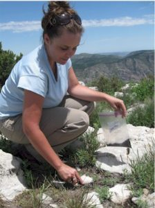 Fulton High School biology teacher Kim Kennard taking soil samples for Chihuahuan Desert modern pollen rain study.